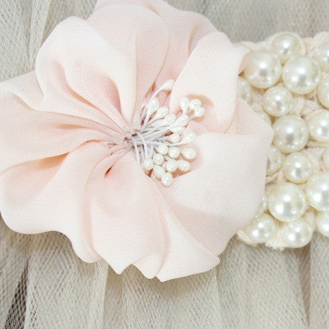 Tulle Ruffle Belt With Pearls: vintage chic
