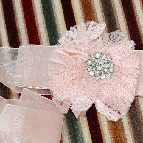 Pink Ribbon Belt: Diamante Button