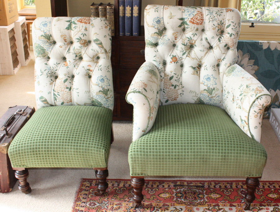 Pair of Antique Deep Button Chairs