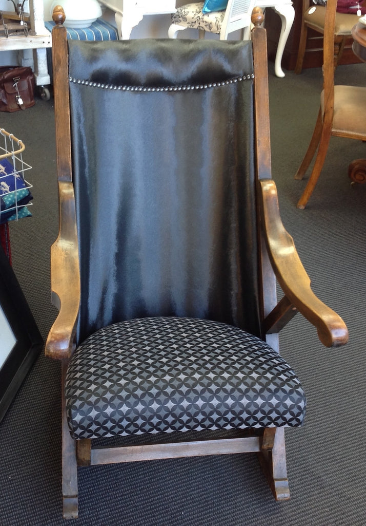 Statement Piece Antique Rocking Chair: faux hide