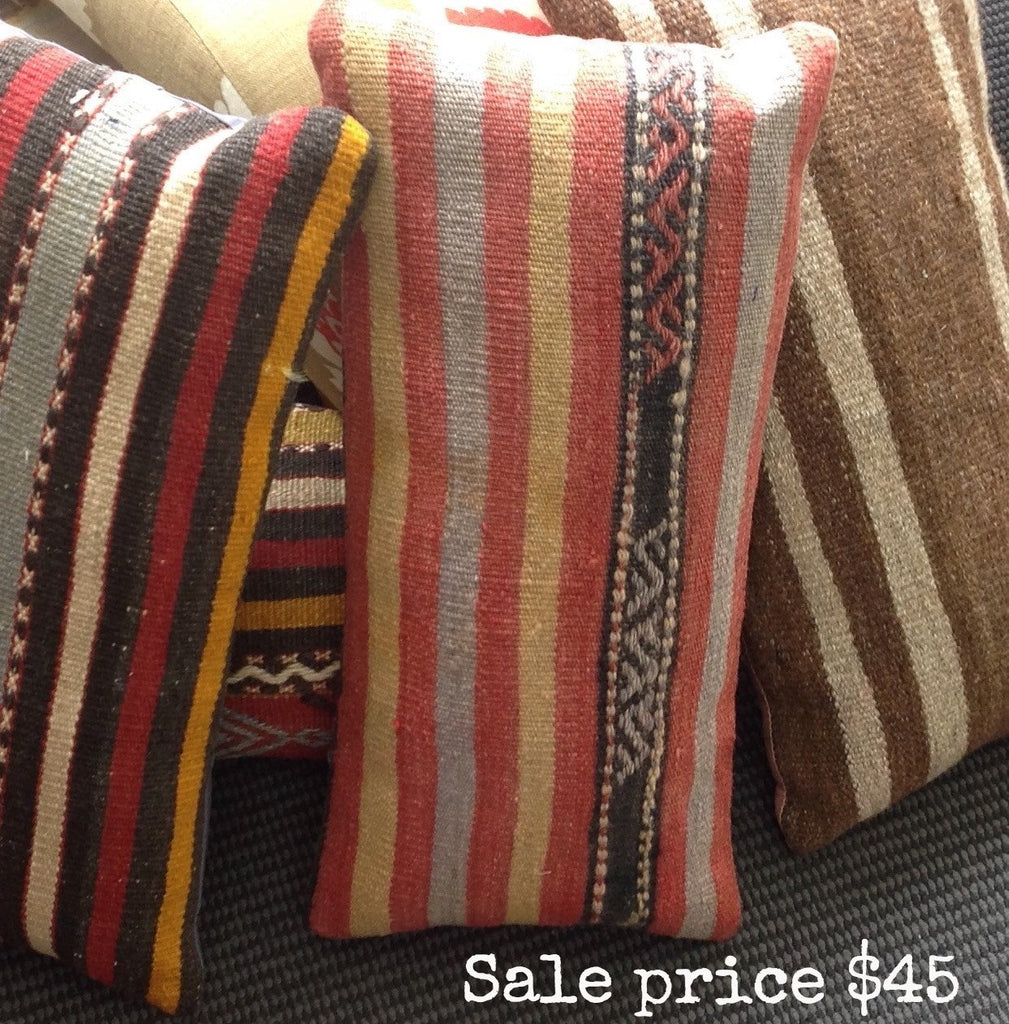 Turkish Kilim Cushion: stripe