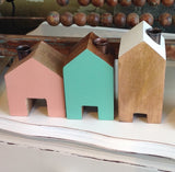 Little Wooden Cottage Candle Holder:  pastel & timber