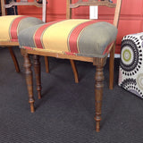 Elegant Dining Chair: intricate inlay/striped fabric