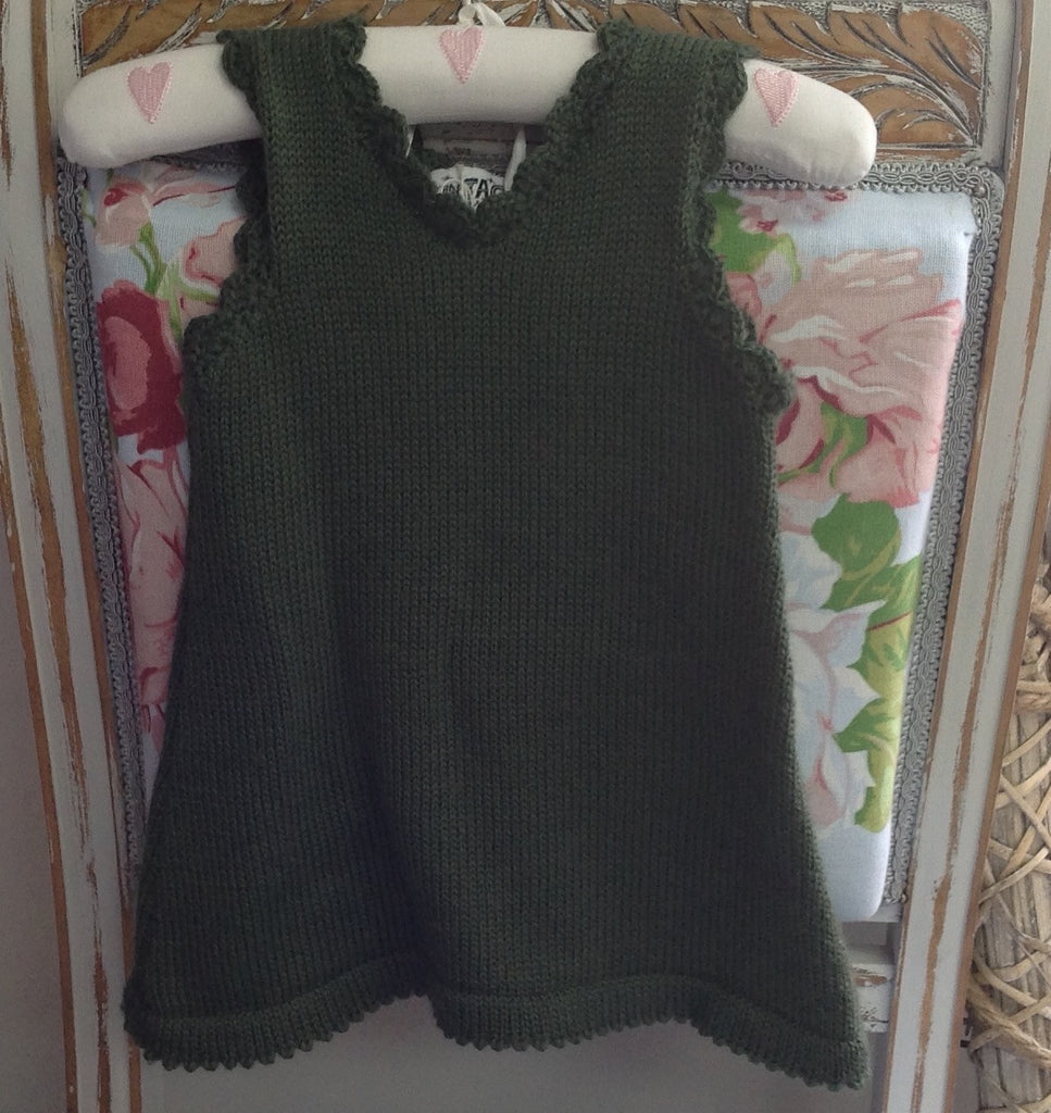 100 % NZ Wool Knit Dress / Tunic: Olive Green