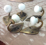 Cast Brass Hook with Porcelain Knob: vintage styling