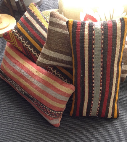 'Ethnic' Kilim Cushion: muted coloured stripes