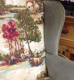 Traditional Wingback Armchair: hounds, hunters & horses