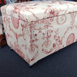 Reupholstered Vintage Ottoman:  floral linen with cherubs