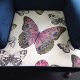 Traditional Wingback Armchair: Butterflies & Velvet