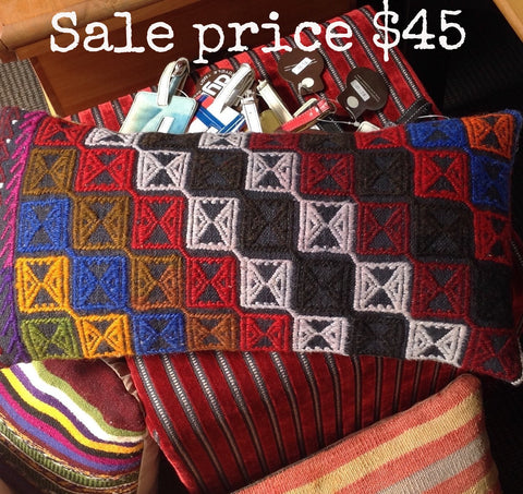 'Ethnic' Kilim Cushion: vivid coloured arrow motifs