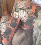 Warm Toned, Sanderson Cushion: floral, vintage chic styling