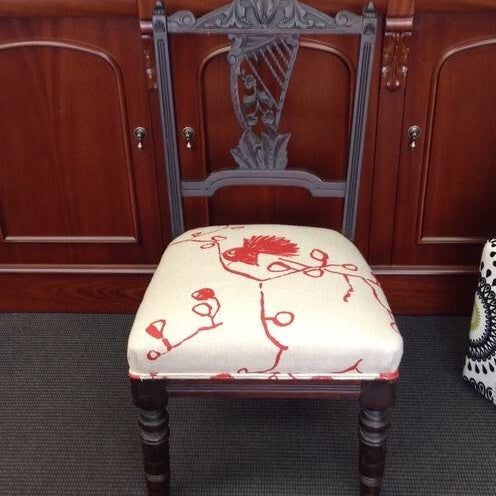 Carved Antique Bedroom Chair: linen fantail fabric
