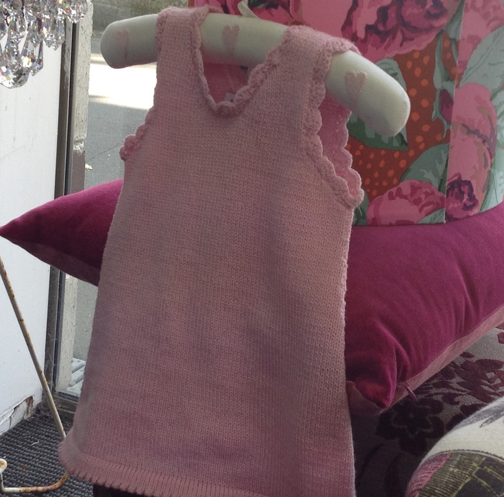 100 % NZ Wool Knit Dress / Tunic: Pink