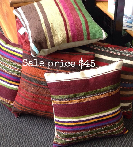 Square 'Ethnic' Kilim Cushion: stripes