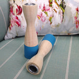 Shapely Aqua/Natural Wood Candle Stick Holders