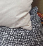 Triangle Print Cushion: taupe & black cotton