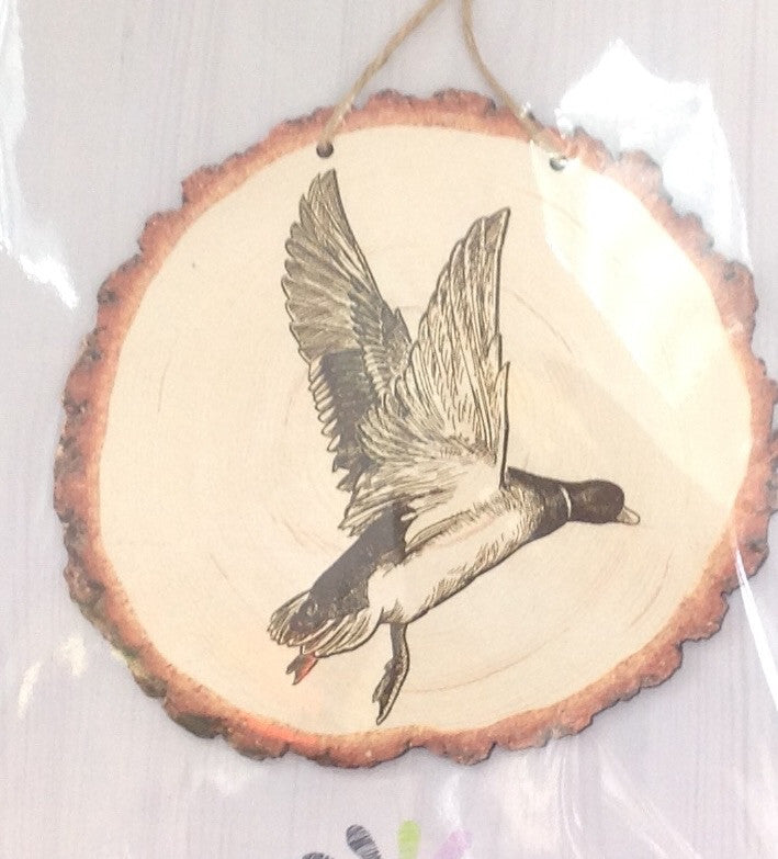 Flying Duck: Tree Slice Wall Art