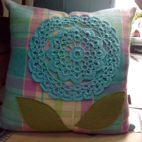 Vintage Blanket & Doily Cushion: hand made