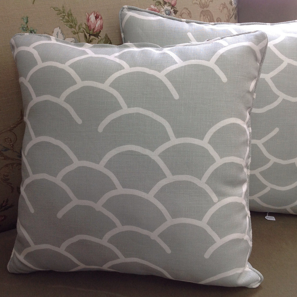 Cool, Hemptech Coolum Fabric Cushion:  grey & white 'waves'