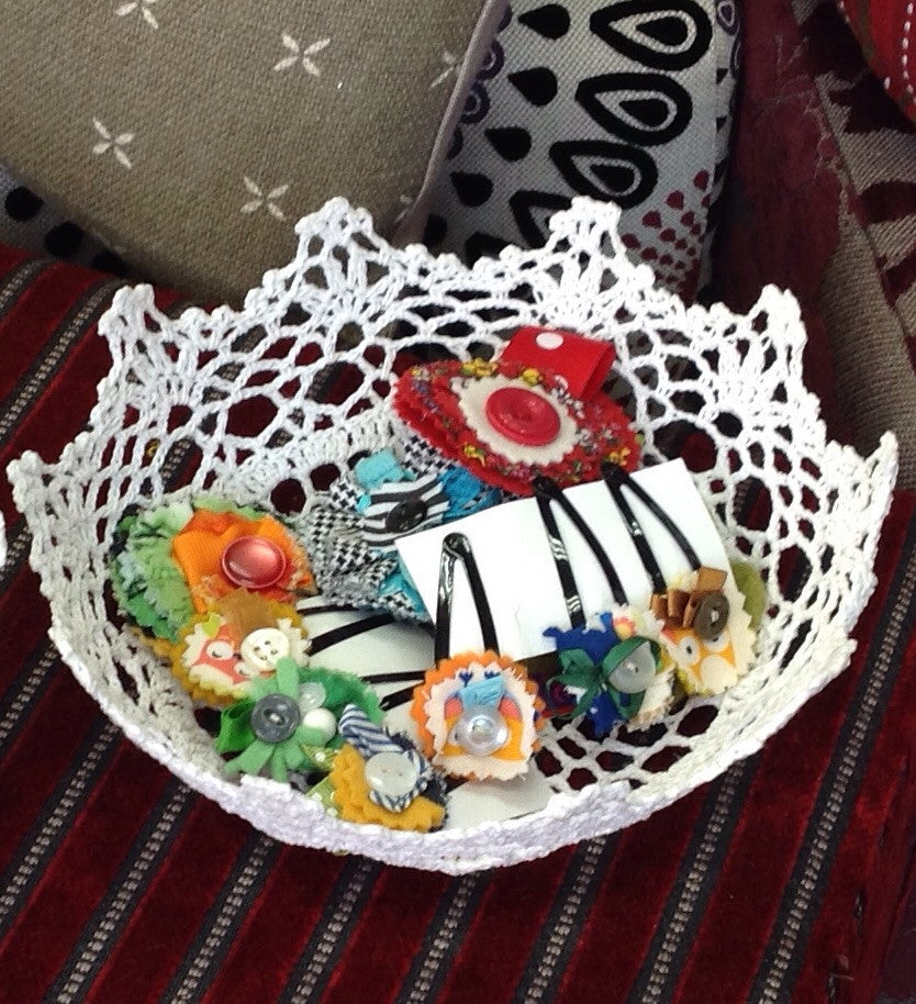 Small Shaped Basket: crafted from vintage doily