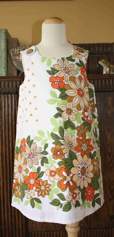 Revived -Retro Orange Floral Pinafore Size 4