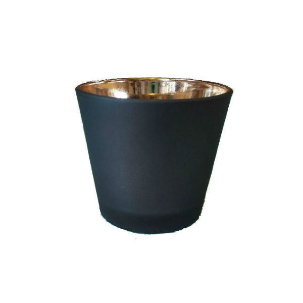 Black Exterior / Copper Interior:  tea light holder