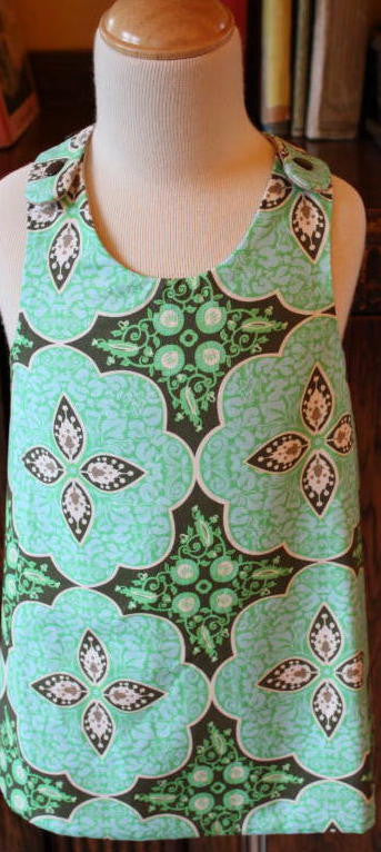 MoonUnit Green Retro Print Apron Dress:  Size 1 - 2 years