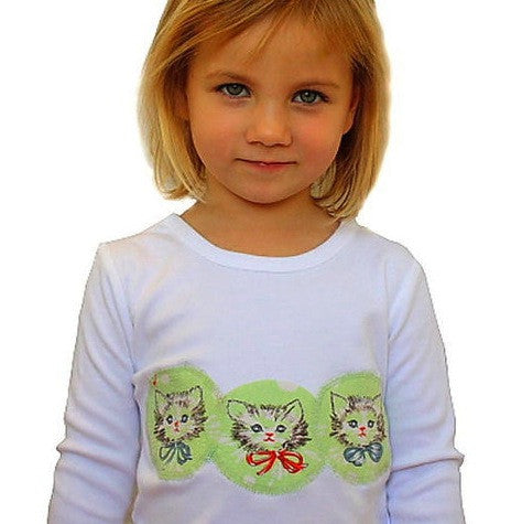 Mixit 'Meow' Long Sleeve T: vintage fabric appliqué