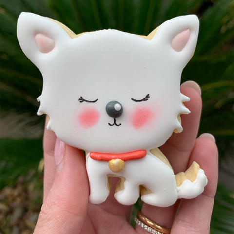 Completed white dog cookie