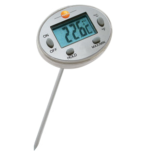 Waterproof mini thermometer, length 120 mm, up to +230 °C, with protective sleeve for probe shaft - 0560 1113
