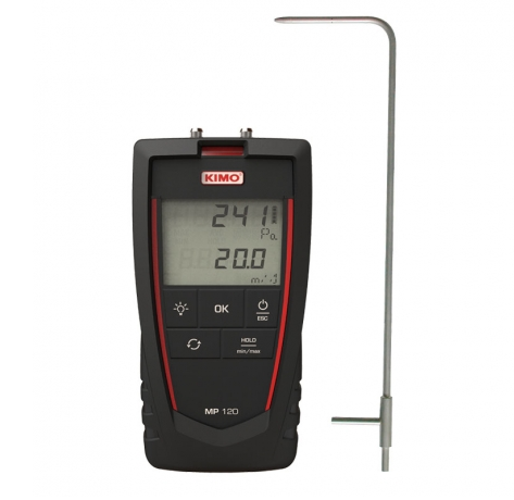 Micromanometer with air velocity calculation - MP120S