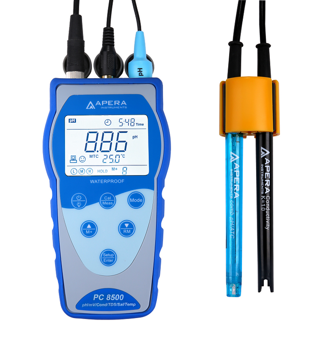 PC8500 Portable pH/Conductivity Meter Kit with GLP Data Logger and USB Data Outpu - PC8500