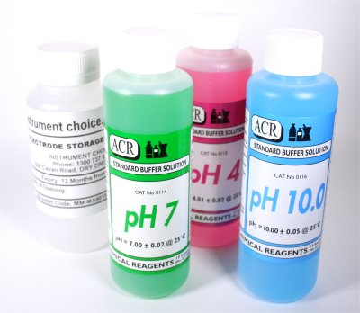 4 Pack Of Ph Buffer Solution (Ph 4, Ph 7, Ph 10) and Storage solution, 500Ml Each