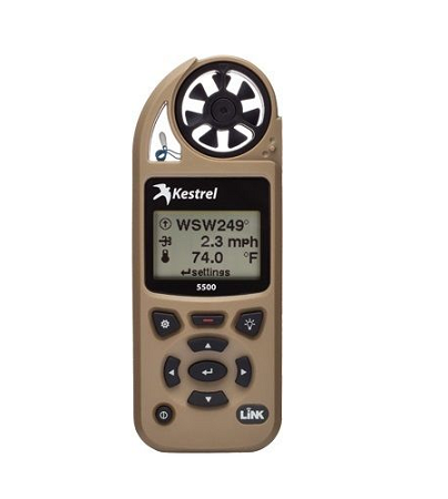 Kestrel 5500 Pocket Weather Tracker with Link Bluetooth and Vane Mount - Tan