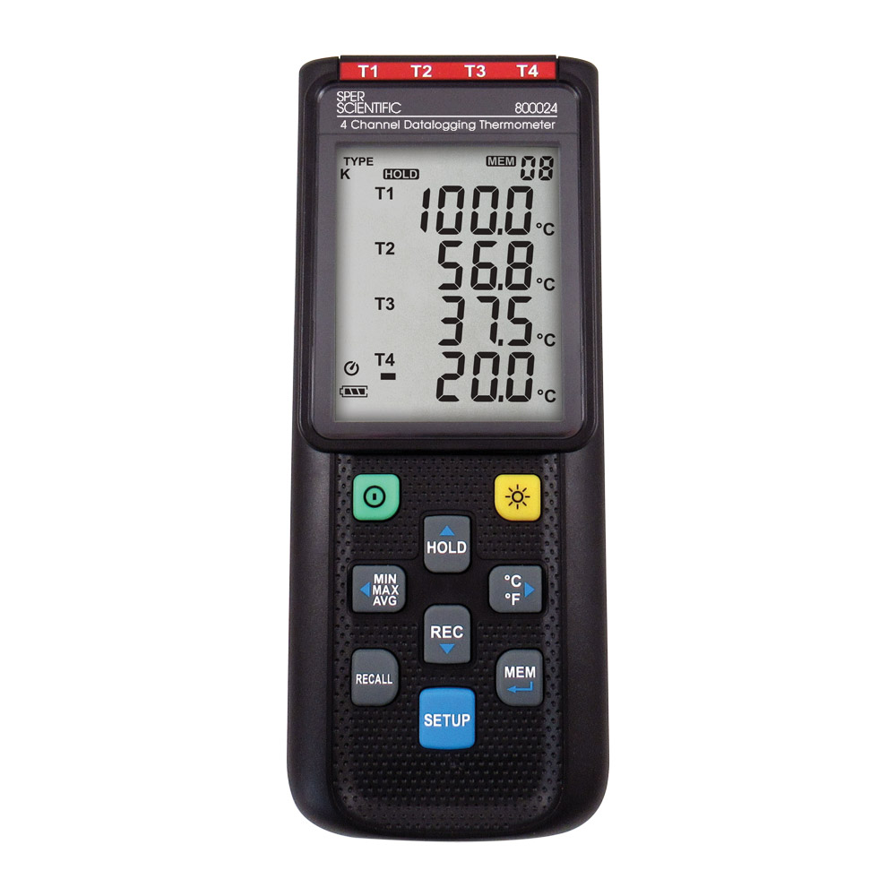 4-Channel Thermocouple Data Logger (K, J, E, or T) - 800024A