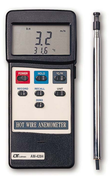Anemometer With Temperature Hot Wire & RS232 Output - AM4204