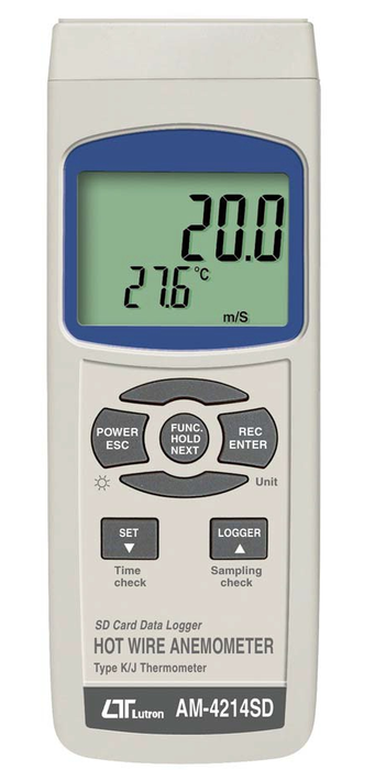 Hot Wire Anemometer Logger, K-J Thermometer with SD card slot - AM4214SD