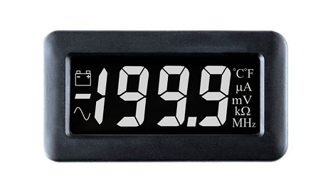 LCD Voltmeter with White Digits on a Black Background - DPM 750S-EB-W