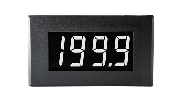 Large 200mV Single-rail Voltmeter with White Digits on a Black Background - DPM 950S-EB