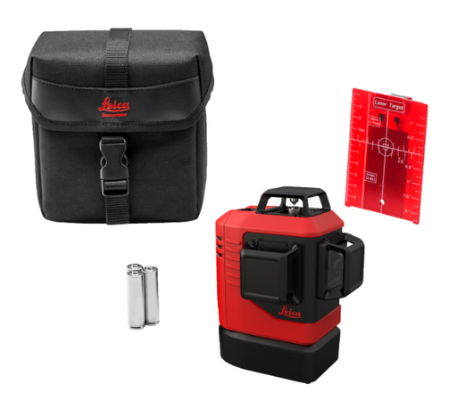 Leica Lino L6Rs-1, 3x360 Laser Level Red Beam with Alkaline, Softcase