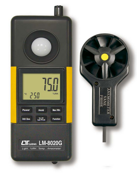 4 in 1 Green Meter with power provided by winding. Anemometer, Hygrometer, Light Meter & Thermomete - LM8020G