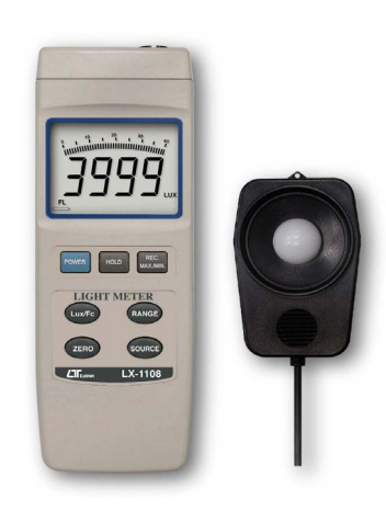 Light Meter, Bar Graph LCD, 5 Ranges, 4 Light Type Selection - LX1108
