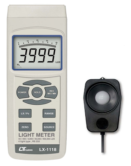 Light Meter, LCD Display with Bar Graph, 4 Light Type Selection - LX1118