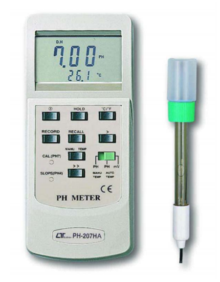 pH Meter With Temperature - PH207HA