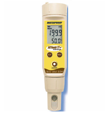 Waterproof ECTestr11 Dual Range Testr with ATC & temperature display (0 - 2000 µS/cm; 0 -20.00 mS/cm) - ECTEST11
