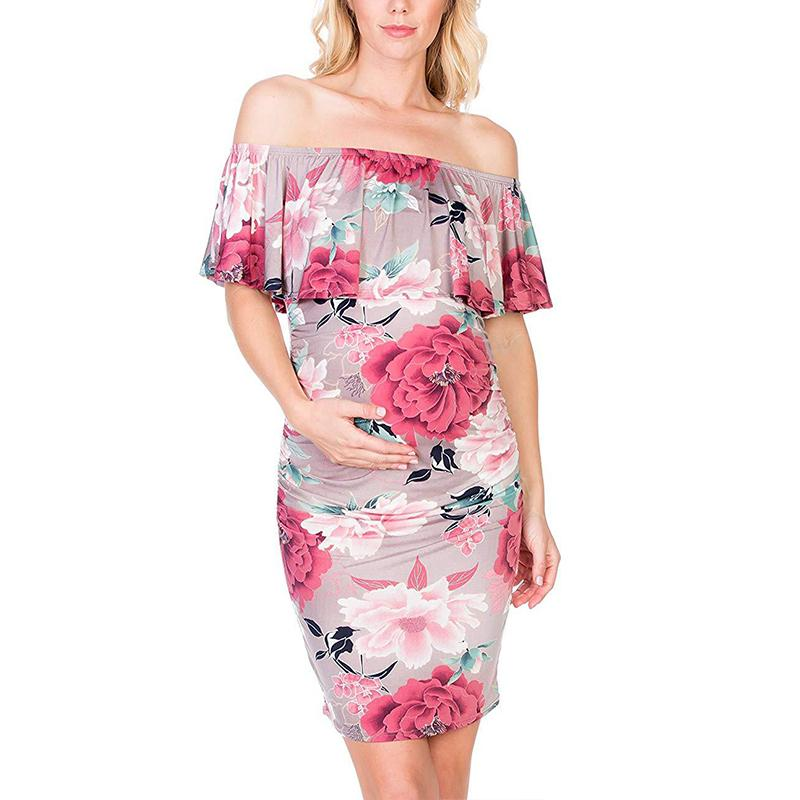 2c4d992ab50 Maternity Off The Shoulder Ruffle Floral Bodycon Dress 2 Colors ...