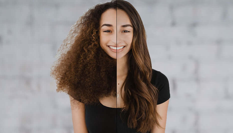 Before and after image of curly to straight hair