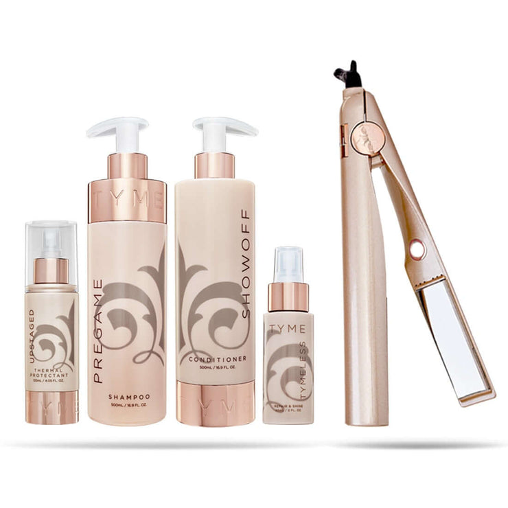 TYME Hair Goals Kit front view with TYME Thermal Protectant, TYME Pregame Shampoo and Showoff Conditioner, TYMELESS Repair and Shine, TYME Curling Straightening Iron