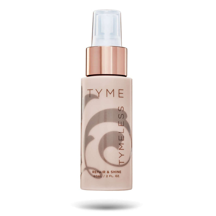 TYME TYMELESS Repair and Shine in a champagne pink bottle with taupe fleur de lis logo and rose gold spray pump.