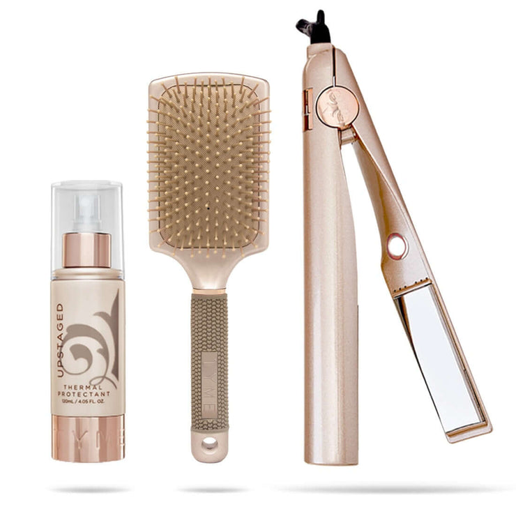 Upstaged Thermol Protectant, TYME Paddle Brush and TYME Curling Straightening Iron